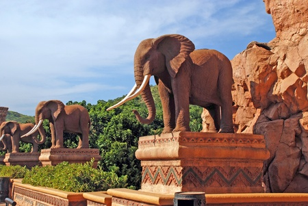 Statue of elephants in Lost City(South Africa)
