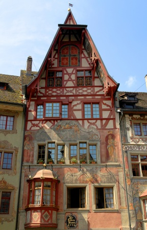 The town Stein am Rhein  Switzerland  has a well-preserved medieval centre  Many of the medieval buildings are painted with beautiful frescoes