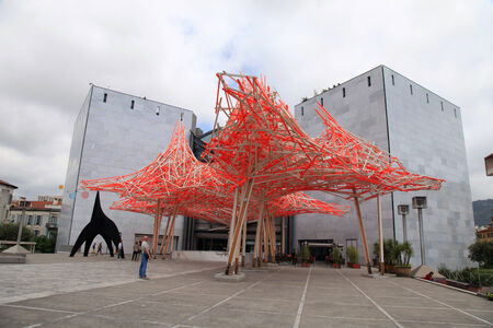 NICE, FRANCE - MAY 14, 2013: Modern architecture of the Museum of Contemporary Art, major cultural and touristic landmark in Nice, France