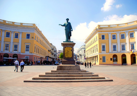 ODESSA, UKRAINE - APRIL 29, 2010: Monument to Duke de Richelieu in Odessa, Ukraine.