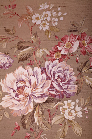 Vintage shabby chic brown wallpaper with multicolor floral victorian pattern