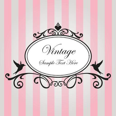 Vintage frame on pink background