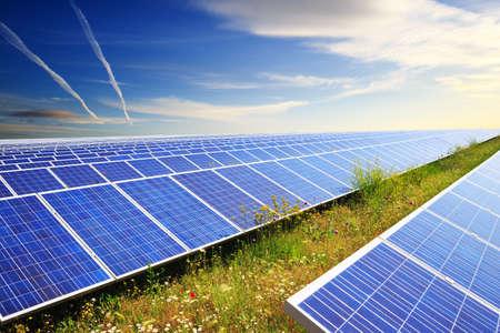 Photo pour Solar panels under blue summer sky on field of flowers - image libre de droit