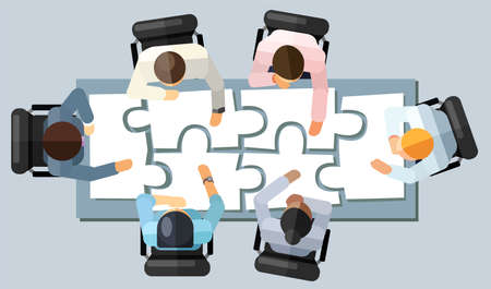 Ilustración de Business meeting strategy brainstorming concept. Vector illustration in an aerial view with people sitting in an office around a conference table solving a puzzle - Imagen libre de derechos