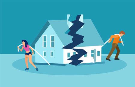 Illustration pour Divorce and marriage problems vector concept. Man and a woman are dragging apart their half of the house. - image libre de droit
