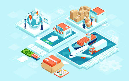 Illustration pour Innovative contemporary smart online order automated delivery logistics network distribution with people machinery industry 4.0 infographic. Global shipping of cargo by air truck maritime transportation - image libre de droit