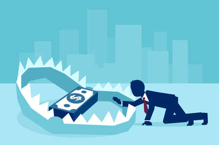 Illustration pour Concept of money trap in business, vector flat illustration  - image libre de droit