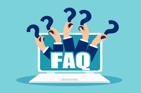 Illustration pour FAQ banner. Computer with hands holding question icons. Vector concept for frequently asked questions online suing social media platform - image libre de droit