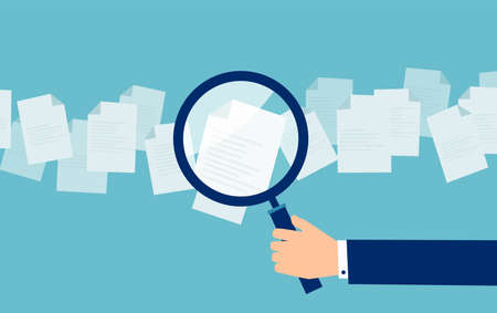 Illustration pour Crop hand of cartoon employer with magnifier looking through candidates resume in search - image libre de droit