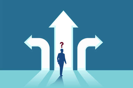 Illustration pour Business decisions concept. Vector of a perplexed businessman with question mark standing in front of arrows crossroads making a right choice. Career path strategy. - image libre de droit