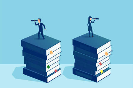 Vektor für Power of education and independent opinion concept. Businessman and businesswoman standing on pile of books looking at future in opposite direction - Lizenzfreies Bild