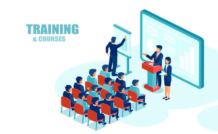 Illustration pour Isometric vector of business people education group office employees, listening to financial presentation - image libre de droit