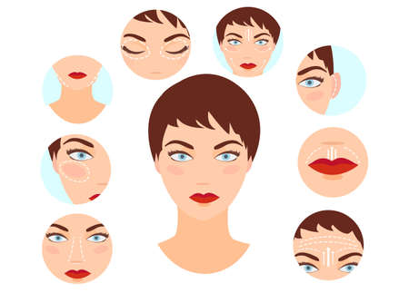 Photo pour Plastic surgery concept. Vector of a woman with rhinoplasty, face lifting, blepharoplasty, otoplasty procedures done  - image libre de droit
