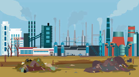 Illustration for Vector of a working factory polluting air, water and soil with toxic waste chemicals  - Royalty Free Image