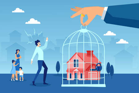 Illustration pour Foreclosure concept. Vector of a stressed young family being evicted from their house - image libre de droit