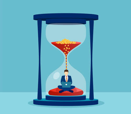Illustration pour Vector of a man in suit sitting inside hourglass and working on his laptop. Productivity and time management concept. - image libre de droit