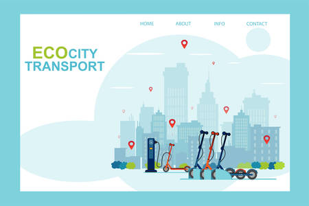 Illustration pour Vector of an electric scooter station, eco city transportation, sharing service concept  - image libre de droit