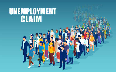 Illustration for Vector of a crowd of people of different occupations standing in a line to claim unemployment  - Royalty Free Image