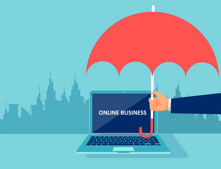 Illustration pour Vector of a businessman hand with umbrella protecting online business - image libre de droit