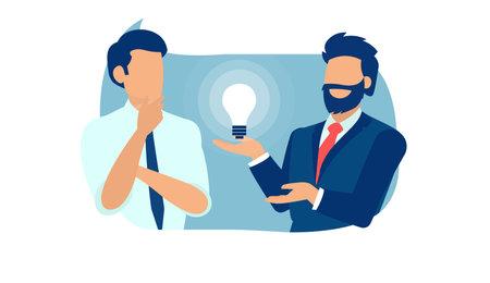 Illustration pour Vector of a business men brainstorming new idea - image libre de droit