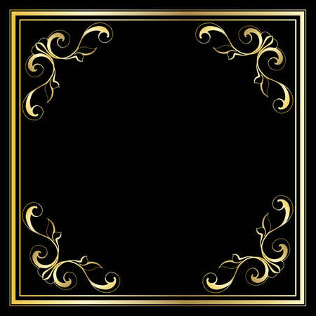 Illustration for Vector trendy design template for wedding or birthday invitation, brochure, poster or business card. Geometric  gold pattern.Vintage retro golden frame in Art Deco style. - Royalty Free Image