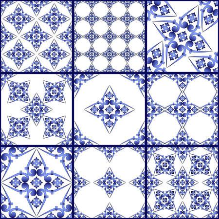 Illustration pour Seamless patchwork tile. Majolica pottery tile. Portuguese and Spain decor. Ceramic tile in talavera style. Vector illustration.  Abstract seamless patchwork pattern with geometric and floral ornament - image libre de droit