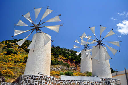 Traditional wind mills in the Lassithi plateau, Crete, Greece.