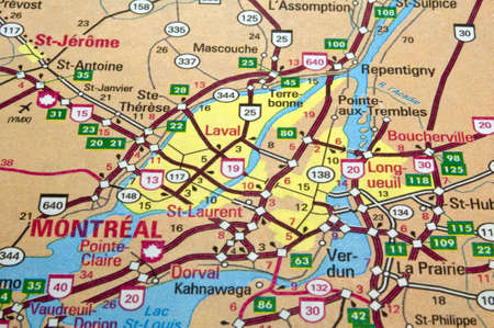 Road map of the Montreal City area, Quebec, Canada.