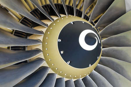 Close-up of a turbofan jet engine in modern airplane.
