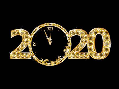 Illustration pour Happy new year 2020 text - image libre de droit