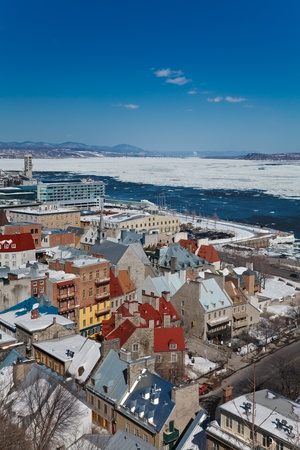 Winter panorama of Quebec City and St.Lawrence river