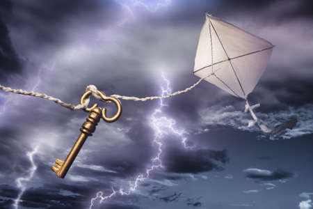 Benjamin's Franklin kite in a dangerous electrical storm