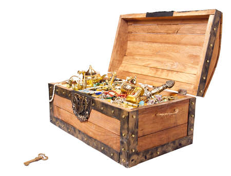 pirate treasure chest isolated on white