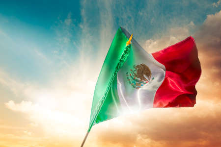 Mexican Flag with dramatic lighting, Independence day, cinco de mayo celebration
