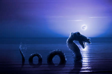Photo composite: Loch Ness Monster at night