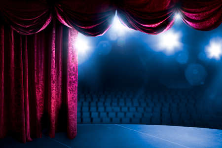 Theater curtain with dramatic lighting and lens flare