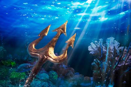 Poseidon's trident under the sea, Photo composite