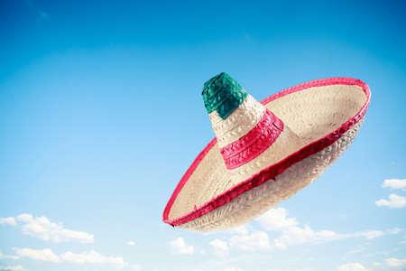 Mexican sombrero in a blue sky