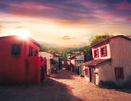scale model of a mexican town at sunset