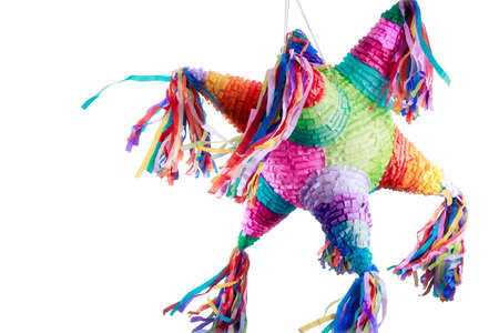 Photo pour Colorful mexican pinata used in birthdays isolated on white - image libre de droit