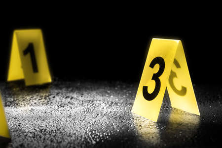 Photo for evidence markers on the floor, high contrast image - Royalty Free Image