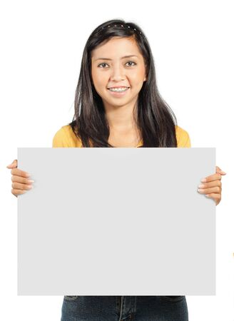 cute young girl holding a big blank card