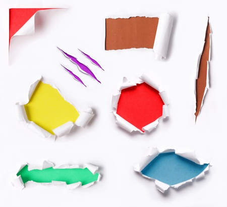 many ripped paper with many different background color