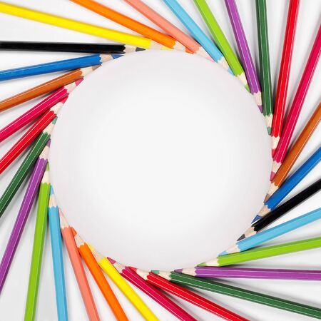 color pencils frame with white background