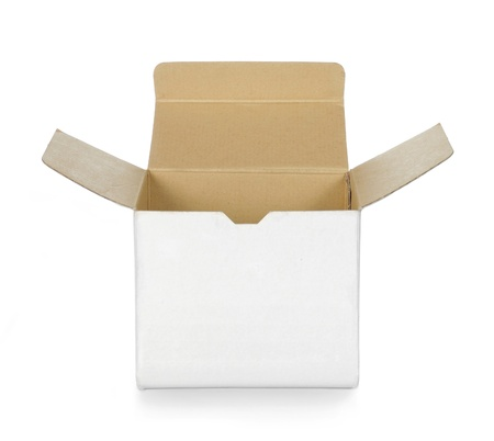 empty opened white cardboard box
