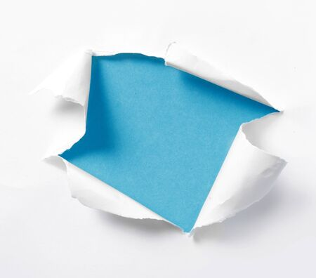 empty blue background torn paper