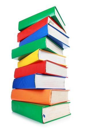 Stack of many colorful books isolated on white background
