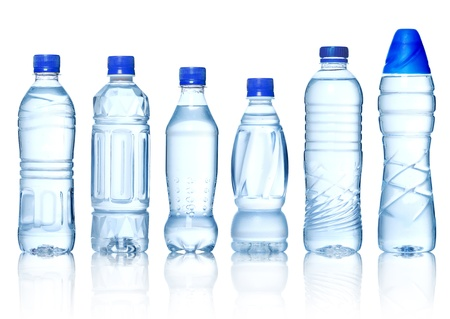 Photo pour Collection of water bottles isolated on white background - image libre de droit