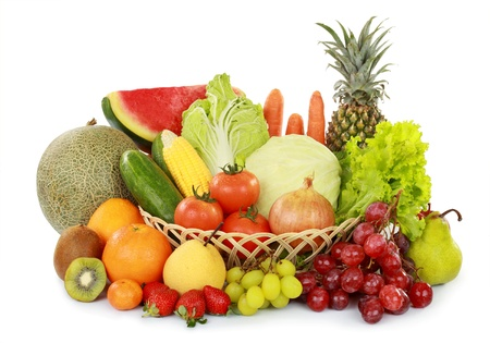 Foto de set of fresh fruits and vegetables with basket isolated on white background - Imagen libre de derechos