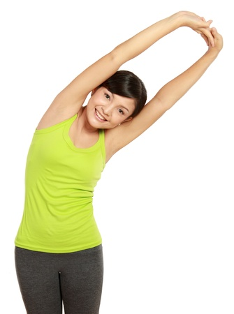 healthy fitness woman stretching